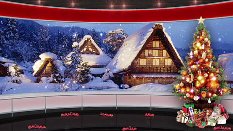 94HD Christmas TV Virtual Studio Green Screen Background Red Xmas Tree Gifts Animation