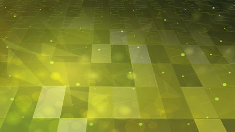 Abstract green and yellow square and hexagon lines Animation