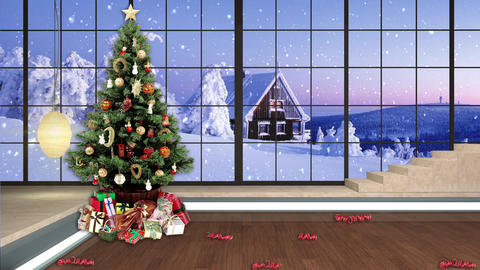 97HD Christmas TV Virtual Studio Green Screen Background Xmas Tree Gifts Animation