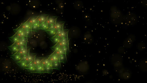 Dynamic Christmas wreath, green, red and golden with stardust, dots of light Animation