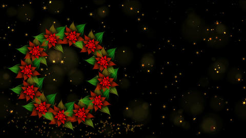 Starry Christmas wreath from red poinsettia with twinkling stars and dots of Animation