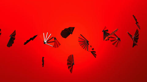 Red Fans On Red Background CG動画