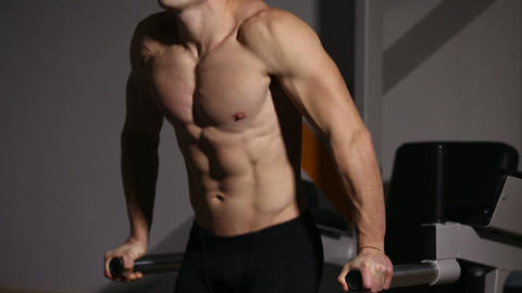 Strong powerful male exercises for pectoral muscles and... Stock Video Footage