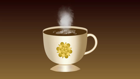 Sweet coffee. An animated cup of coffee with foam. The smoke rises from the Animación