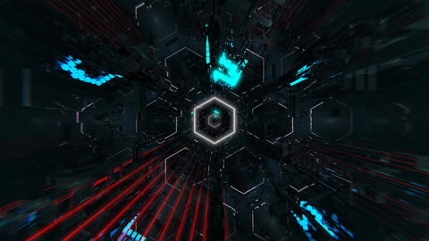 VJ Hexagonal Tunnel CG動画素材