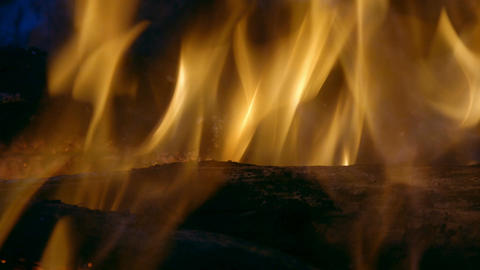 Burning flames and coals in the fire Footage