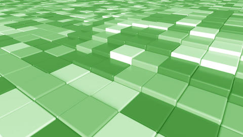 Moving square green tiles motion background, seamless loop Footage