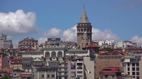 Galata Tower in Istanbul. Turkey. 4K Footage