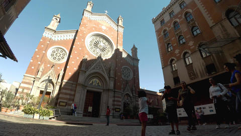 The Catholic Church of St. Anthony on Istiklal Street in Istanbul. Turkey. 4K Footage