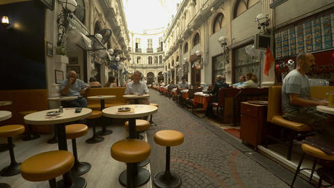 A cozy cafe on Istiklal Street in Istanbul. Turkey. 4K Footage
