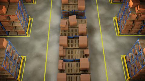 Rows of shelves with boxes. Commercial Warehouse Animation