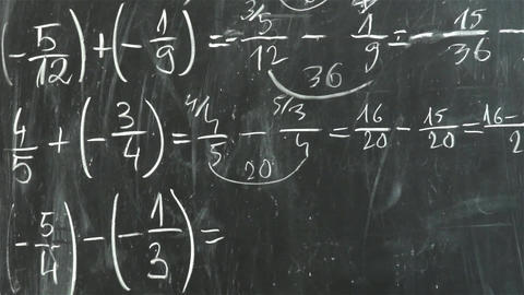 Math teacher that shows with a stick exercises he has written on blackboard with Footage
