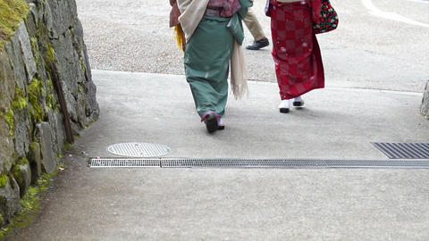 Japanese girls wear kimono parasol and geta Japan sandal footwear Footage