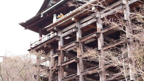 Kyoto, Japan - March 2015: The large ancient wood structure of Kiyomizu-dera Footage