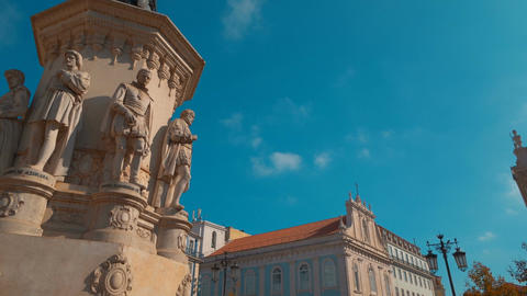 Largo de Camoes square, Lisbon, Portugal Footage