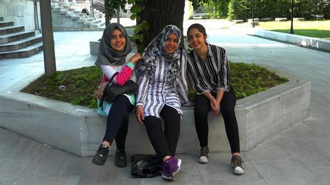 Turkish girls laugh and rejoice. Istanbul. Turkey. 4K Footage