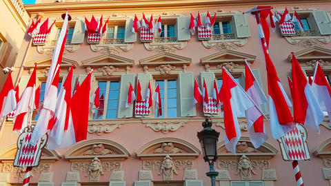 Many National Flags of Monaco Footage