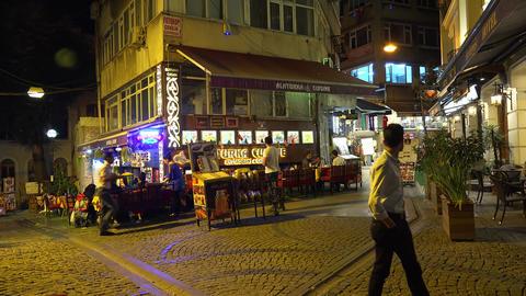 A cozy cafe in Istanbul. Evening. Turkey. 4K Footage