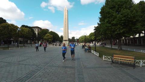 Istanbul Turkey Obelisk of Theodosius park. 4K Footage