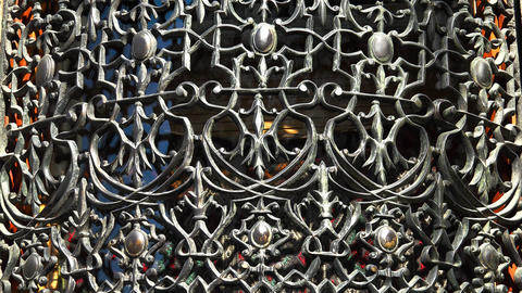 Decorative iron grating. 4K Footage