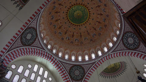 Interior view in Suleymaniye Mosque in Istanbul, Turkey. 4K Footage