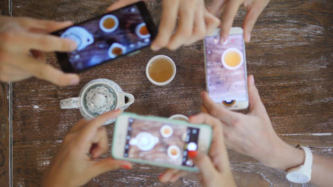 Human Hands Taking Photo of Traditional Chinese Tea Ceremony with Mobile Phone Footage