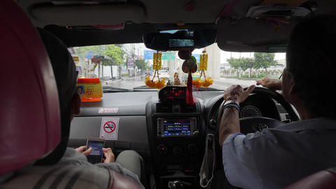 View from Passenger Seat Driving in Taxi POV. Bangkok, Thailand - 26 OCT 2017 Footage