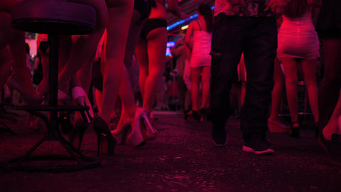 Thai Bar Girl in High Heels Shoes Waiting for Client at Soi Cowboy Street. 4K Footage