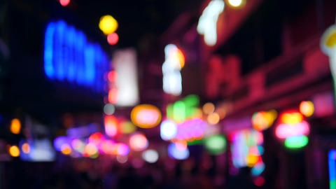 Colorful Blurry Neon Bar Signs Lightings with Amazing Bokeh Background. Sexual Footage