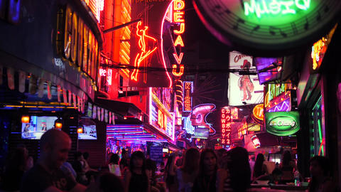 Colorful Neon Lightings at Soi Cowboy Street. 4K. Popular Red District for Footage