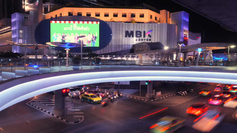 Bangkok Night Traffic Time Lapse. MBK Shopping Center. Thailand - 18 NOV 2017 Footage