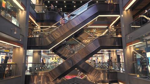 Tourists on Escalators in Siam Center Shopping Mall. Bangkok, Thailand - 18 NOV Footage