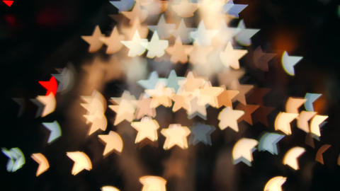 Night Traffic Cars Lights Makes Star Shape Bokeh Christmas Background. 4K Footage