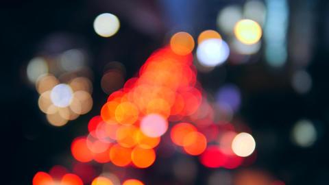 Night Bokeh Blur Traffic Jam Car Lights at Busy Street in Bangkok, Thailand. 4K Footage