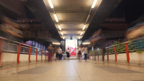 Rush Hour Time Lapse of Huge Crowds of People Walking on Subway Station. Motion Footage