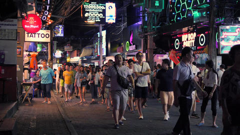 Tourists At Popular Walking Street in Pattaya, Thailand. Sexual Tourism and Footage