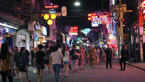 Tourists Walk on Walking Street in Pattaya, Thailand. Sexual Tourism and Footage