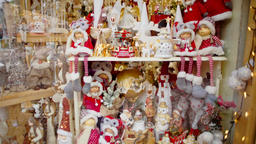 Panorama of Christmas Ornaments and Baubles: bells, snowmen, angels, stars etc Footage