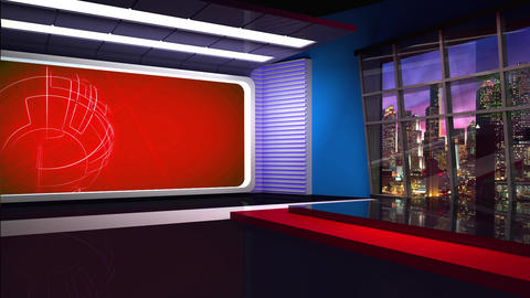 News TV Studio Set 283- Virtual Background Loop ライブ動画