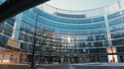 Horizontal Panorama Of a Courtyard in Modern Glass Office Round Building Footage