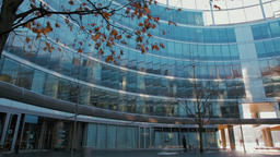 Wide Horizontal Panorama of People in a Modern Glass Business Round Building ビデオ