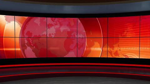 News TV Studio Set 301- Virtual Background Loop ライブ動画