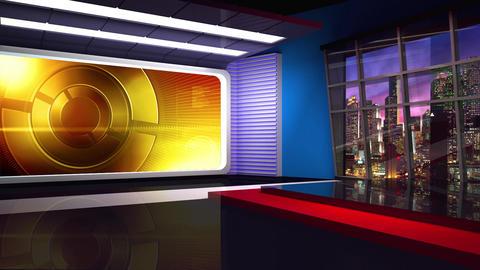 News TV Studio Set 306- Virtual Background Loop ライブ動画