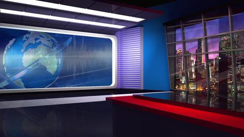 News TV Studio Set 307- Virtual Background Loop ライブ動画