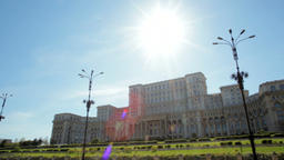 Impressive Panorama of the Parliament Building in Bucharest, Capital of Romania Footage