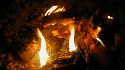 Burning Fire with Wood in the Night with a Bright Flame Footage