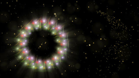 Dynamic Christmas wreath, red and golden with stardust, dots of light, starry Animation