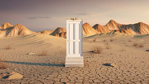 Magic door open in the desert mountain landscape Animación