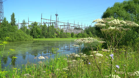 Electric power station. Power lines Stock Video Footage