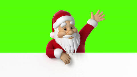 Santa looks out of paper and waving Animación